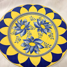 "QUADRIFOGLIO ITALY QUD46 DINNER PLATE 10 1/8"" BLUE FLOWERS ON YELLOW ARCHES"