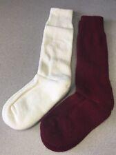 2 Pair Maggies Organic Wool Knee High Socks Natural White / Maroon Womens 6-9
