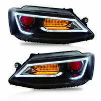 LED Dual Beam Projector Headlights w/ DEMON EYES Sequential for 11-14 JETTA MK6