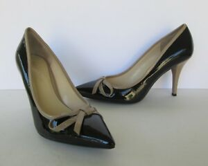 Enzo Angiolini Womens Black & Tan Patent Leather Pointy Toe Heels Shoes 7.5 M