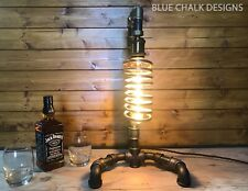 Industrial Table Lamp, Steampunk, Retro, Art, Unique Edison Long Tube Bulb