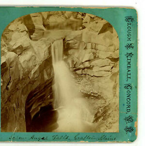 Screw Auger Falls Grafton Township ME Clough & Kimball Stereoview c1870