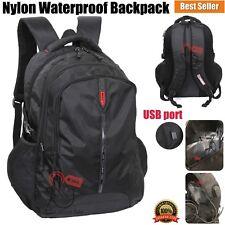 Waterproof Nylon USB Port Backpack Rucksack School College Work Travel Sports