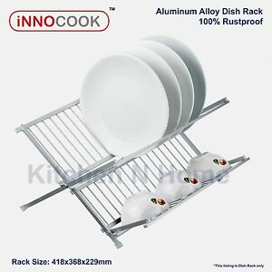 Dish Rack, Aluminum Alloy, Rustproof, Foldable Dishrack, Drainer, Stainless