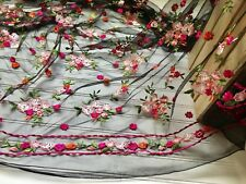 "55"" Wide Lace Fabric with Embroidery Flowers with Black Mesh Base for Sewing"