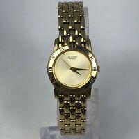 Citizen Womens 5930-S06308 Gold Tone Quartz Japan Movement Analog Wristwatch