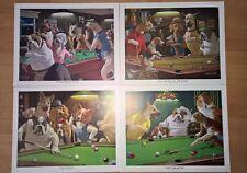 Vtg Prints Dogs Playing Pool Billiards Lot of 4 prints by Arthur Sarnoff