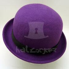 FASHION Wool Felt Women Soft Derby Hat Men Bowler Party Unisex | 57cm | Purple
