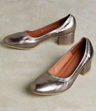 ANTHROPOLOGIE BITSIE HEELS PEWTER LEATHER PUMPS JEFFREY CAMPBELL SHOES 7 NEW