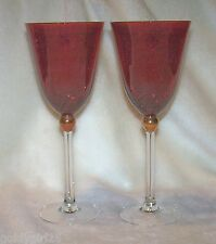 Gorham for Lenox Red Crystal Wine Glasses Touch of Gold Set of 2 MINT
