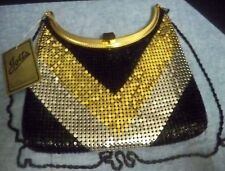 NWT Mesh Evening Bag Black Gold Silver Chevrons Adjustable Strap Jayco USA Jotta
