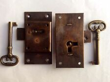 2 FLUSH lock cupboard solid brass keys heavy works door vintage style 76mm locks