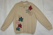 Alfred Dunner Woman Cardigan Beige Zip Up Front Sweater Plus Size 1X