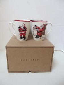 POTTERY BARN PAINTED SANTA MUGS Christmas Mug Holiday SET 4 Expressions NEW NIB