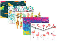 5 Assorted Fashion Design A4+ Document Wallets Plastic Folder Flamingo 302229