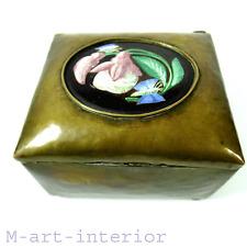 Jugendstil Messing Dose Schatulle Medaillon mit Hanmalerei Brass Box Berlin 1915