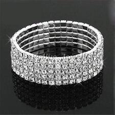 5 Rows Full Crystal Rhinestone Diamante Bracelet Bangle For Women Bride Wedding