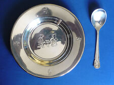 ASSIETTE A BOUILLIE CUILLERE METAL ARGENTE OURS SHEFFIELD ENGLAND COOPERLUDIAM