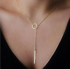 Fashion Gold Chain Necklace Metal Ring Casual Pendants Women Necklaces Jewelry 5
