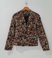 Dotti Corduroy Blazer Size 10 Long Sleeve Black Brown Floral Pattern Jacket