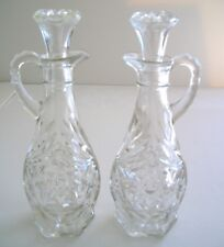 2 Vintage Oil & Vineger Glass Decanters With Glass Tops