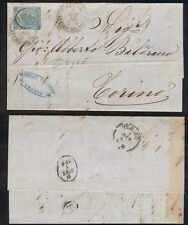 Italy 1865 Sc 34a Sassone 24 ON ENTIRE LETTER GENOVA/UFFIZIO DEL PORTO TO TORINO