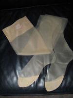 Vintage RETRO CAMEL Demi Large Toe Super Sheer Mesh  Nylon Stockings Hosiery