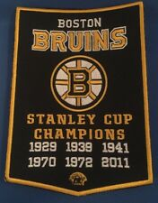 """Boston Bruins 6X Stanley Cup Champions Banner Patch Dynasty 5"""" X 7"""" Inches"""