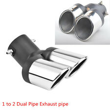 Car 63mm Modified Stainless Steel 1 to 2 Dual Pipe Exhaust Muffler Tail Pipe Tip