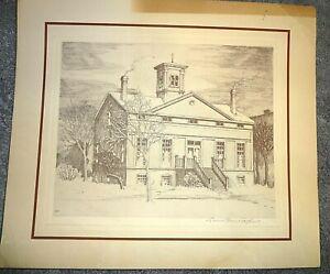 Print~Leon R. Pescheret Etching~Chicago's Oldest House Henry Clarke ~Bishop Ford
