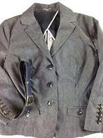 Liz Claiborne Denim Jacket 3 Button Blue Blazer Women Petite NEW 4 Leaf Clover
