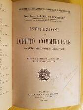 LIBRO - VALERIO CAMPOGRANDE - ISTITUZIONI DI DIRITTO COMMERCIALE - LATTES 1930