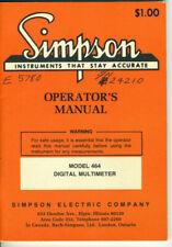 Simpson Model 464 Digital Multimeter Operators Manual Original 81976