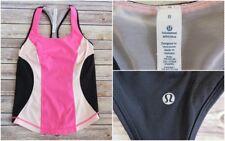 LULULEMON Black Hot Pink Cardio Kick Sports Tank Top Running HIIT Yoga UK 12