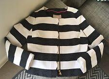 NEW Banana Republic black white striped scalloped Parisian detail jacket