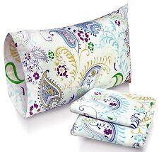 Cal King Sheet Set Flannel Paisley Garden Print Multi Color Deep Pocket Cotton
