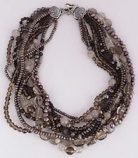 Stephen Dweck Sterling Tahitian pearls large heavy beaded 9 strand necklace