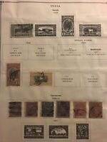 EXCELLENT EARLY INDIA ON ALBUM PAGES 1908 TO 1947 Soruth Travancore Gwalior More