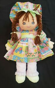 """Vtg.""""Sweetie Mine"""" Well-Made Toy Co. Cloth Doll Blue Eyes Brown Braids 20"""",1995"""