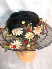 Antique Edwardian Black Horsehair Hat W/ Flowers Millinery