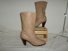 WOMEN FRYE VINTAGE MID CALF WESTERN STYLE BEIGE LEATHER BOOTS SIZE 7M