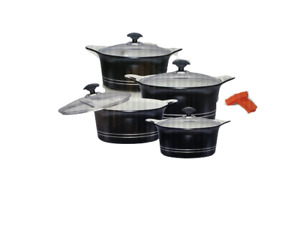 DIE CAST COOKWARE SET NON-STICK COATED COOKING POT WITH LID PPACK OF 10 PICES