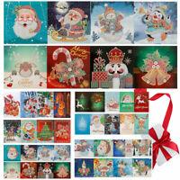 8Pcs DIY 5D Christmas Card Santa Claus Diamond Painting Xmas Greeting Embroidery