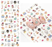 2 Sheets Nail Water Decals Cat Dog Rabbit Cute Animal Nail Art Transfer Stickers