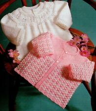 Baby knitting pattern Cardigan 4 & 6 ply  Two Designs Babies Toddler 41 ~ 46 cms