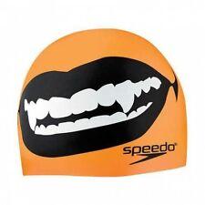 Speedo Fang Thang Orange & Black Swim Cap Silicone Elastomeric Fit New
