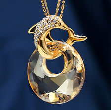 Korean Fashion Design Dolphin Crystal Pendant Necklace with Long Chain Jewelry