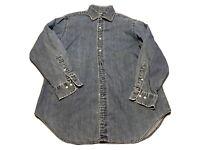 Vintage 90s Polo Ralph Lauren Men's 16 L Denim Blue Button-Front Shirt 32/33