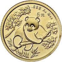 China 5 Yuan 1992 Panda Goldmünze Stempelglanz in Münzkapsel