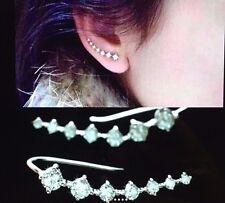 Womens White Silver Long Crystal Stud Ear Hook Earrings Ear Crawlers
